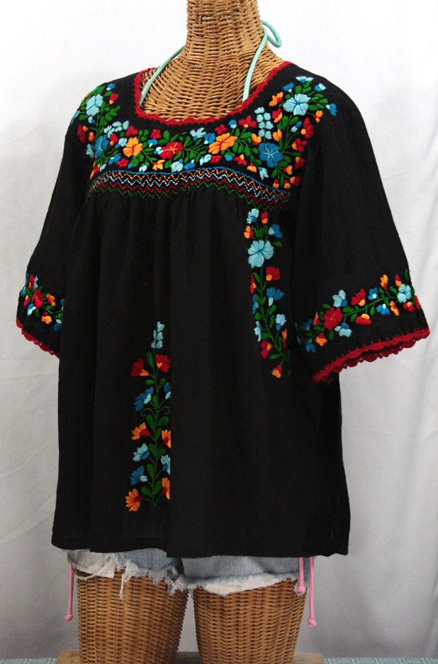 """La Marina"" Mexican Peasant Top -Black + Fiesta Embroidery"