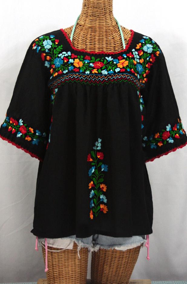 """La Marina"" Mexican Peasant Top -Black + Fiesta Embroidery"