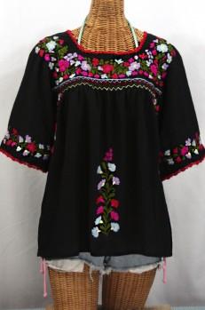 """""""La Marina"""" Embroidered Mexican Style Peasant Top -Black + Multi"""