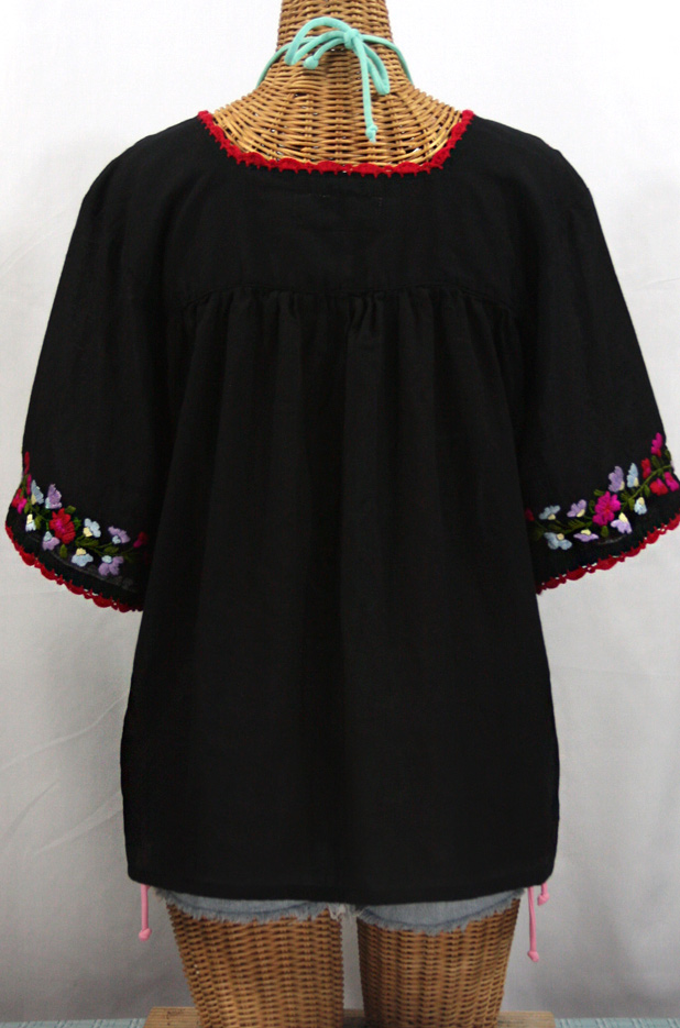 """La Marina"" Embroidered Mexican Style Peasant Top -Black + Multi"