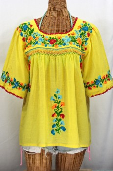 """La Marina"" Embroidered Mexican Peasant Blouse -Yellow + Fiesta"