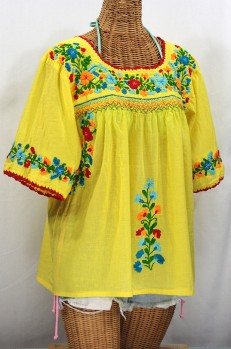 """""""La Marina"""" Embroidered Mexican Peasant Blouse -Yellow + Fiesta"""
