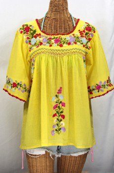 """La Marina"" Embroidered Mexican Peasant Blouse -Yellow + Multi Embroidery"