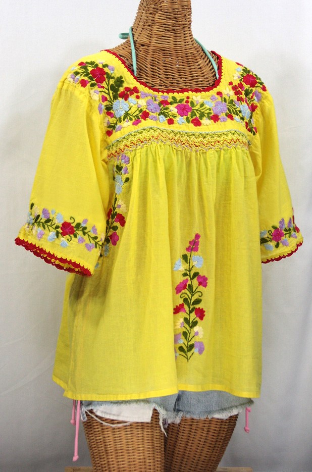 """""""La Marina"""" Embroidered Mexican Peasant Blouse -Yellow + Multi Embroidery"""