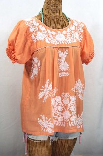 """""""La Mariposa Corta"""" Embroidered Mexican Style Peasant Top - Orange Cream"""