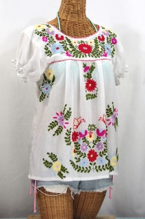"""La Mariposa Corta de Color"" Embroidered Mexican Peasant Blouse - White"
