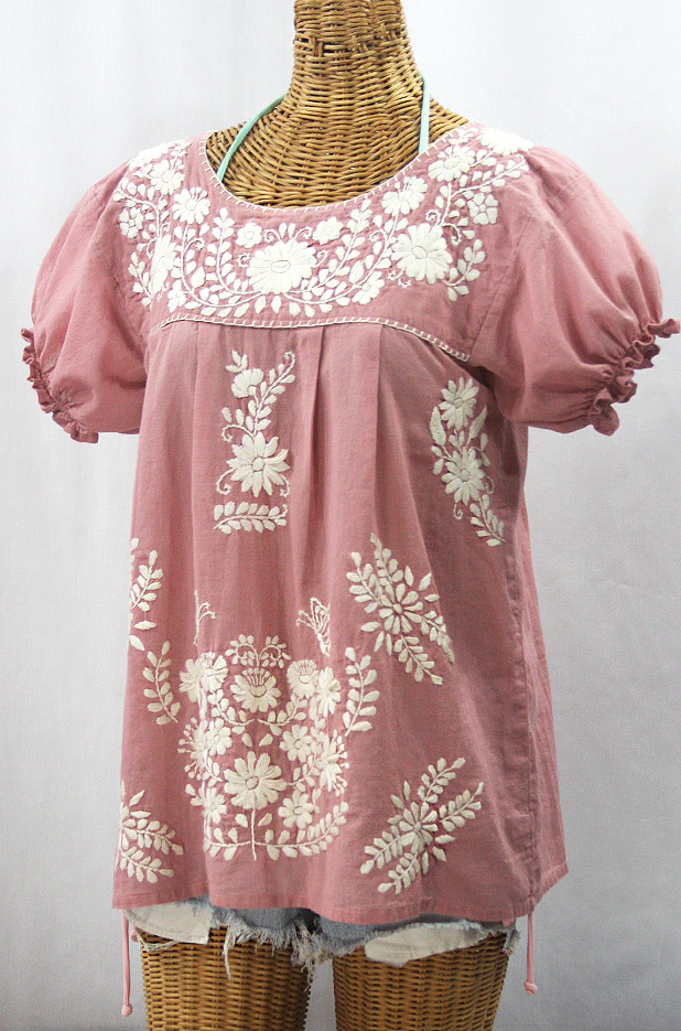 """La Mariposa Corta de Color"" Embroidered Mexican Blouse - Dusty Light Pink + Cream"