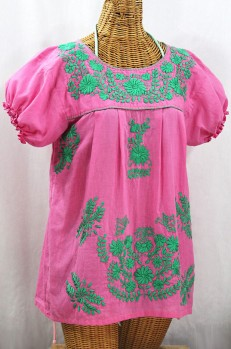 """La Mariposa Corta de Color"" Embroidered Mexican Blouse - Bubblegum Pink + Mint"