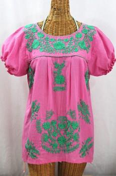 """La Mariposa Corta de Color"" Embroidered Mexican Blouse - Bubblegum Pink + Mint"