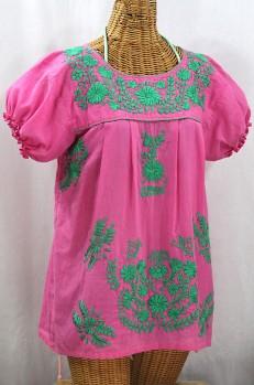 "Final Sale 40% Off -- ""La Mariposa Corta de Color"" Embroidered Mexican Blouse - Bubblegum Pink + Mint"
