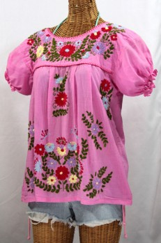 """La Mariposa Corta de Color"" Embroidered Mexican Style Peasant Top - Bubblegum"