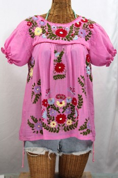 """""""La Mariposa Corta de Color"""" Embroidered Mexican Style Peasant Top - Bubblegum"""