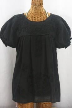 """""""La Mariposa Corta de Color"""" Embroidered Mexican Blouse - All Black"""