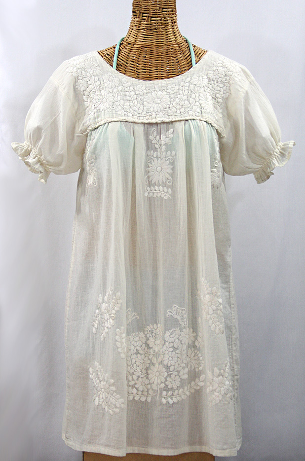 Liliana Cruz White Embroidered Mexican Peasant Dress With Color Embroidery  (Black, Small)