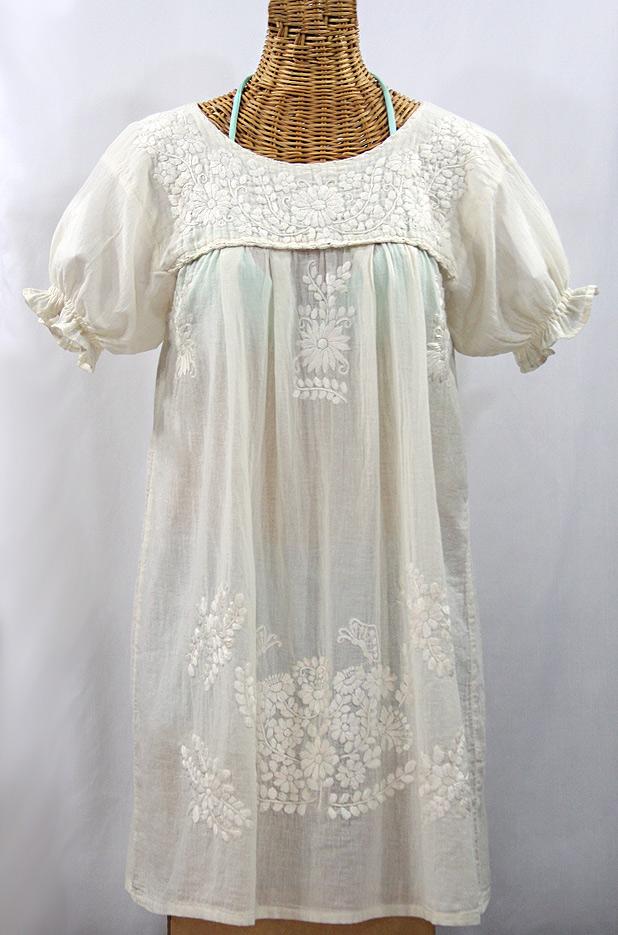"FINAL SALE -- ""La Mariposa Corta"" Embroidered Mexican Dress - All Off White"
