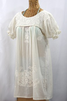 """La Mariposa Corta"" Embroidered Mexican Dress - All Off White"
