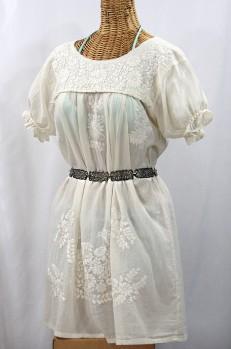 """""""La Mariposa Corta"""" Embroidered Mexican Dress - All Off White"""