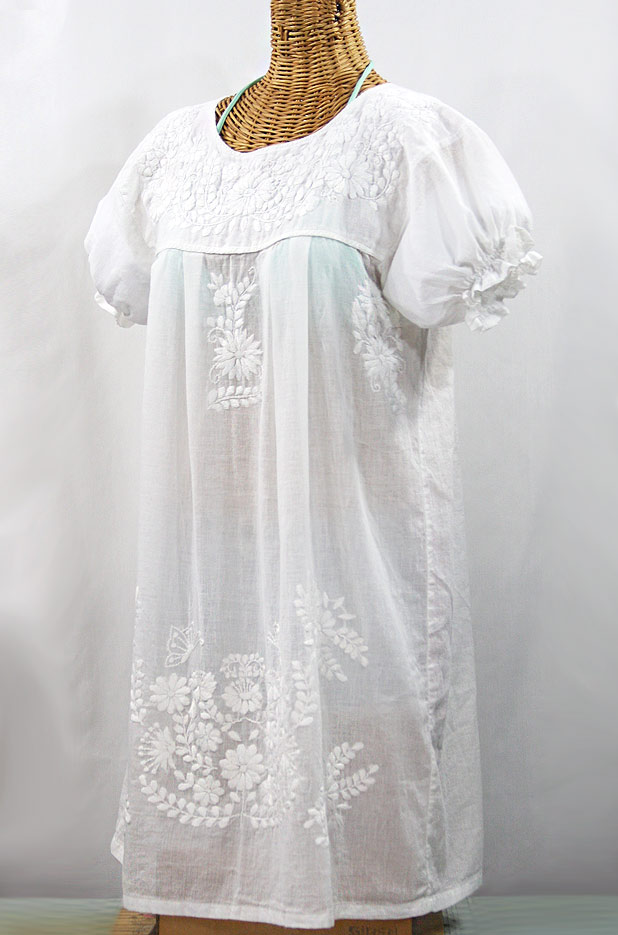 """La Mariposa Corta"" Embroidered Mexican Dress - All White"