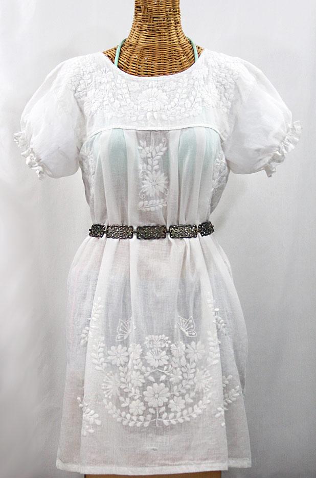 """""""La Mariposa Corta"""" Embroidered Mexican Dress - All White"""