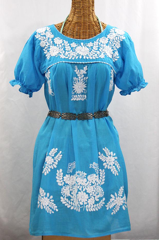 """""""La Mariposa Corta"""" Embroidered Mexican Dress - Aqua"""