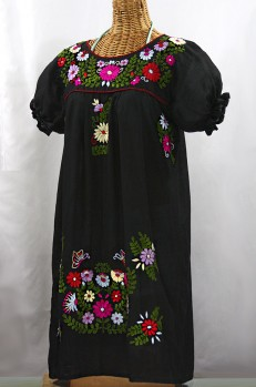 """La Mariposa Corta"" Embroidered Mexican Dress - Black + Multi"