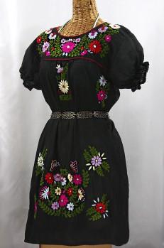 """""""La Mariposa Corta"""" Embroidered Mexican Dress - Black + Multi"""