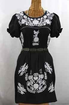 """""""La Mariposa Corta"""" Embroidered Mexican Dress - Black"""