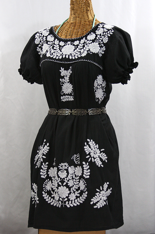 """La Mariposa Corta"" Embroidered Mexican Dress - Black"