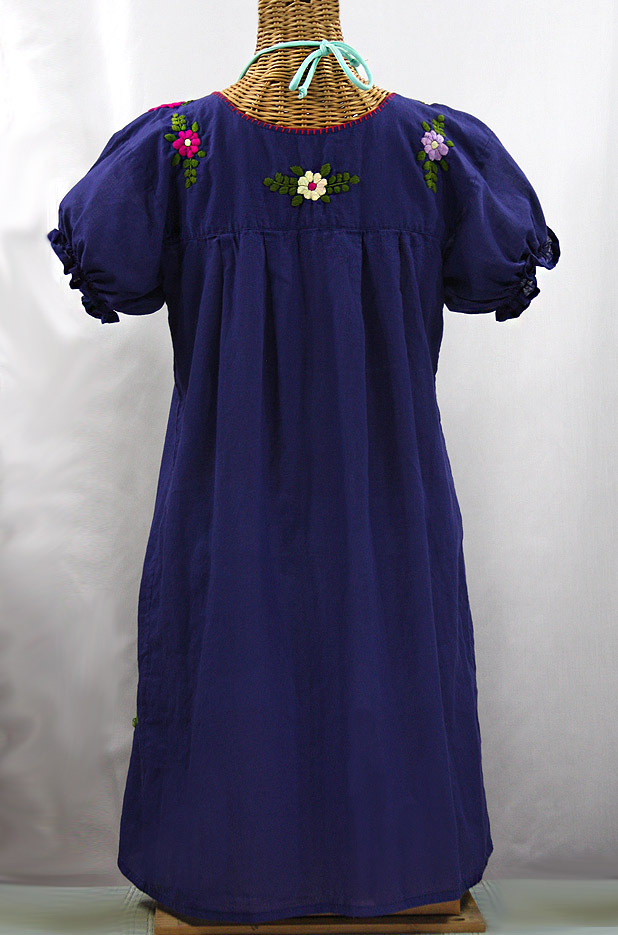 """La Mariposa Corta"" Embroidered Mexican Dress - Denim Blue + Multi"