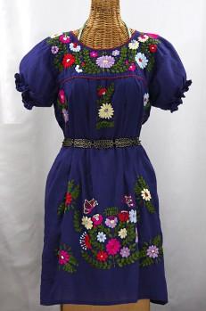 """""""La Mariposa Corta"""" Embroidered Mexican Dress - Denim Blue + Multi"""