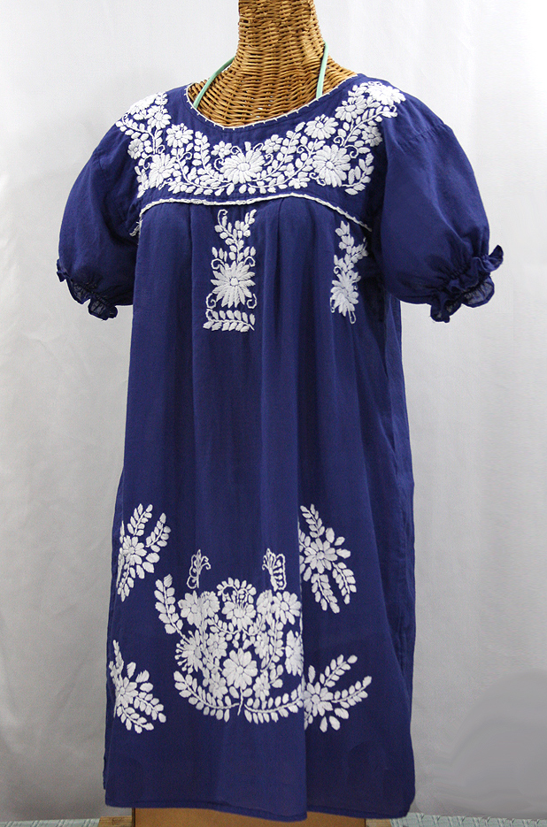 "Final Sale 60% Off -- ""La Mariposa Corta"" Embroidered Mexican Dress - Denim Blue"