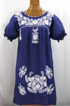 """La Mariposa Corta"" Embroidered Mexican Dress - Denim Blue"