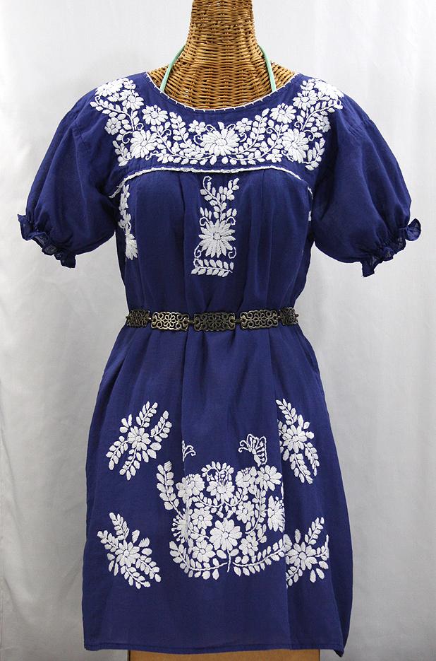 """La Mariposa Corta"" Embroidered Mexican Dress - Denim Blue"