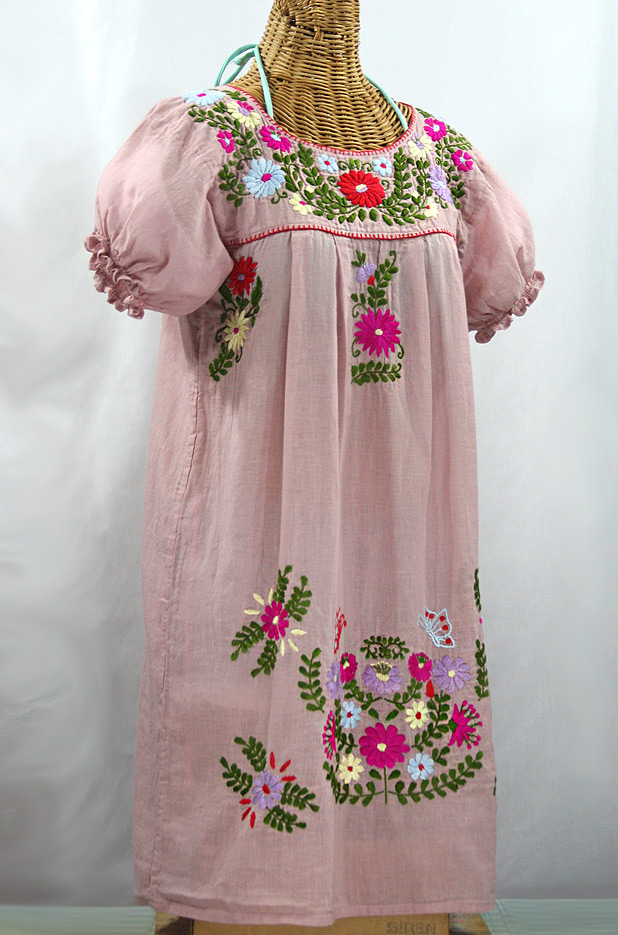 """La Mariposa Corta"" Embroidered Mexican Dress - Dusty Light Pink + Multi"