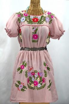 """La Mariposa Corta"" Embroidered Mexican Dress - Dusty Light Pink + Multi"