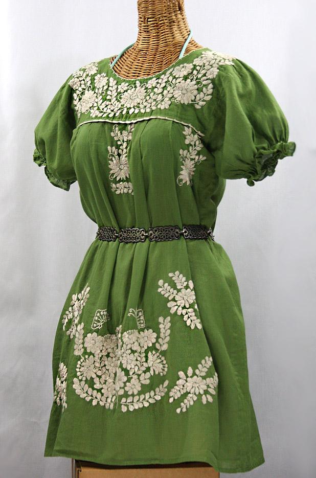 """""""La Mariposa Corta"""" Embroidered Mexican Dress - Fern Green + Cream"""
