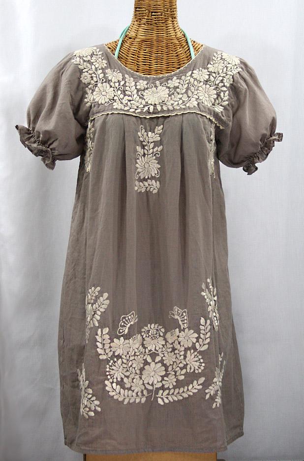 """""""La Mariposa Corta"""" Embroidered Mexican Dress - Fog Grey + Cream"""