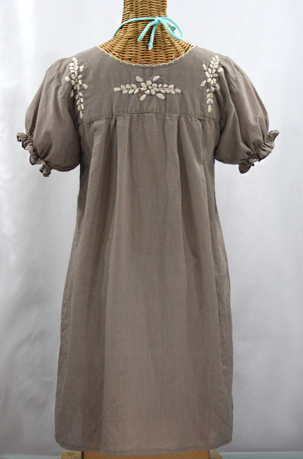 """La Mariposa Corta"" Embroidered Mexican Dress - Fog Grey + Cream"