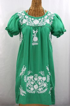 """La Mariposa Corta"" Embroidered Mexican Dress - Green"