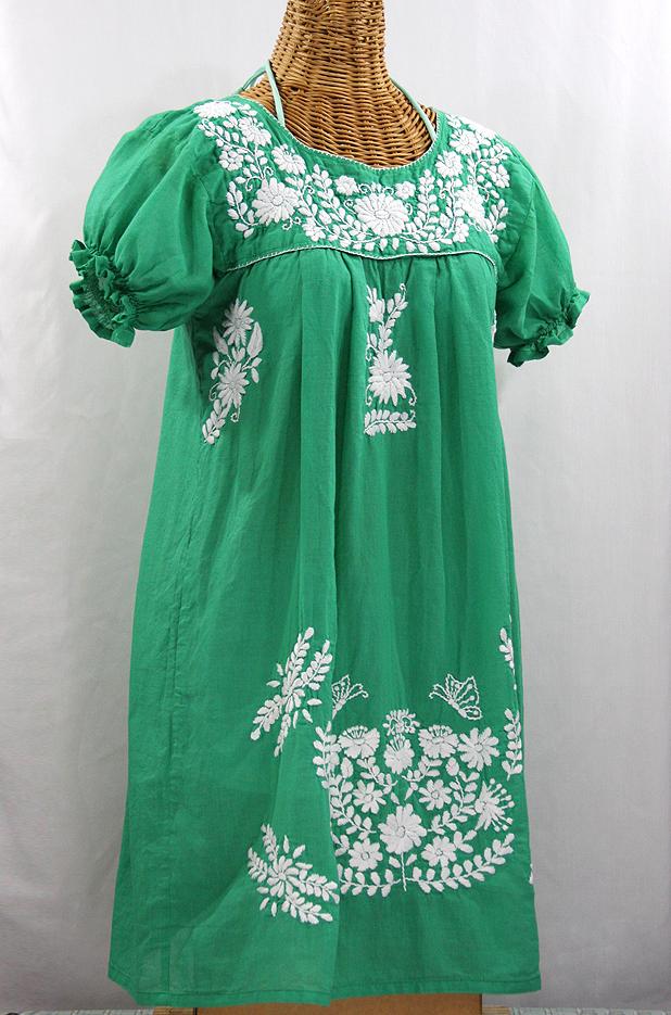 "Final Sale 60% Off -- ""La Mariposa Corta"" Embroidered Mexican Dress - Green"