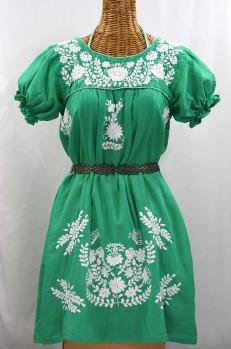 """La Mariposa Corta"" Embroidered Mexican Dress - Green"