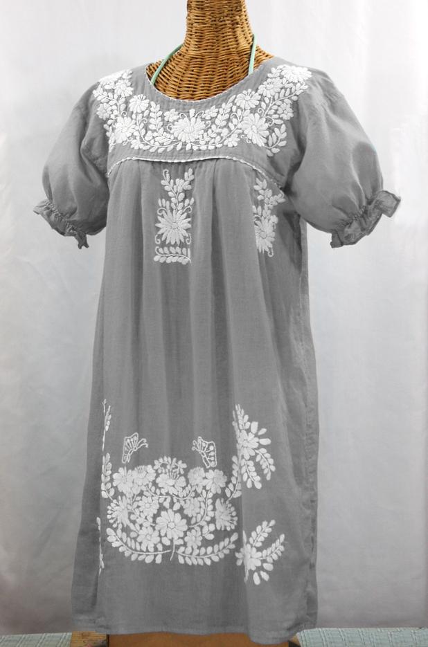 """La Mariposa Corta"" Embroidered Mexican Dress - Grey"
