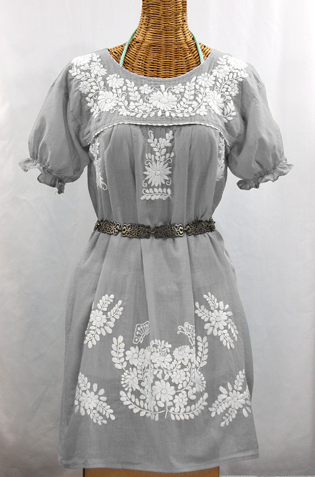 """La Mariposa Corta"" Embroidered Mexican Dress - Grey"