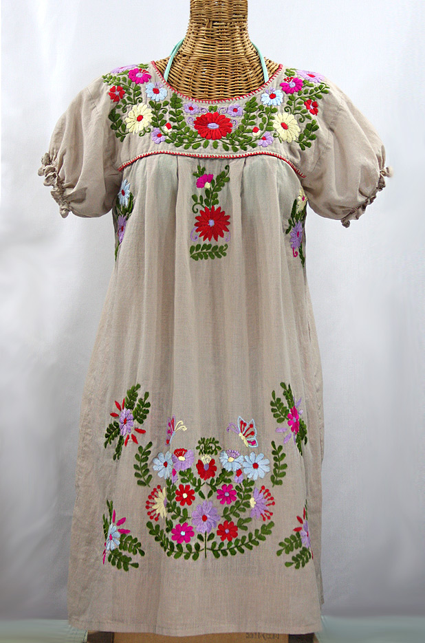 """La Mariposa Corta"" Embroidered Mexican Dress - Griege + Multi"