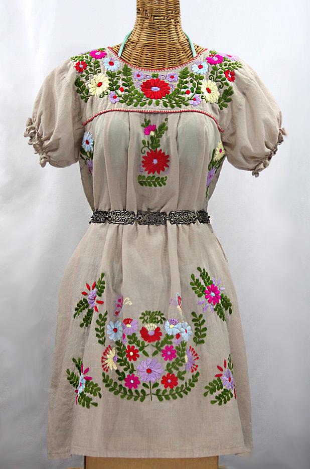 """""""La Mariposa Corta"""" Embroidered Mexican Dress - Griege + Multi"""