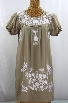 "Final Sale 60% Off -- ""La Mariposa Corta"" Embroidered Mexican Dress - Khaki"
