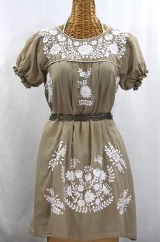 "Final Sale 60% Off -- ""La Mariposa Corta"" Embroidered Mexican Dress - Khaki"