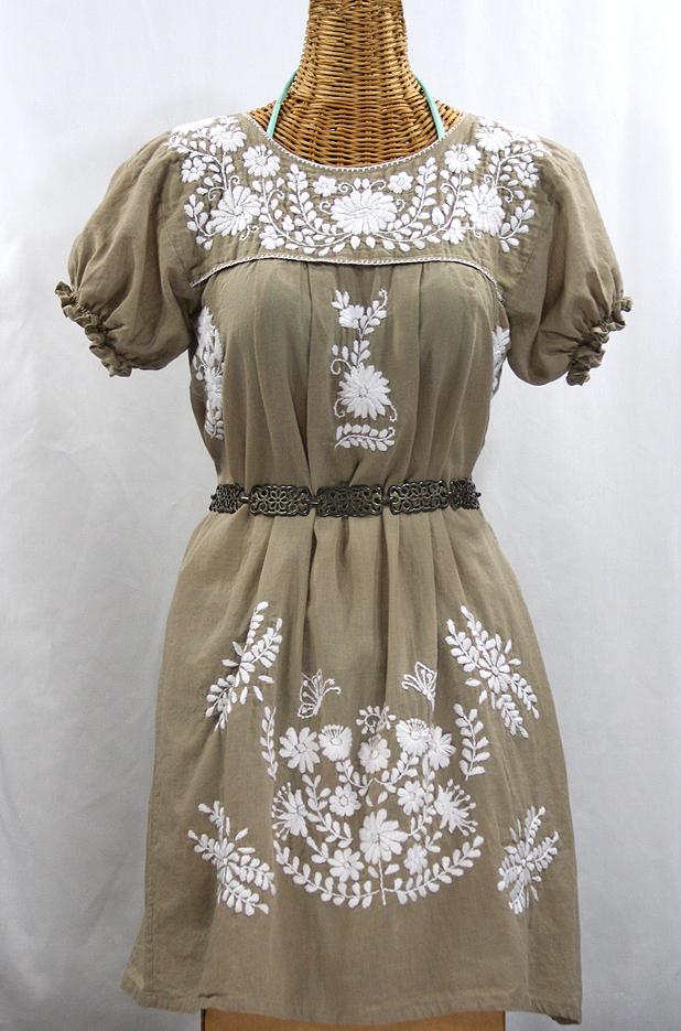 "60% Off Final Sale ""La Mariposa Corta"" Embroidered Mexican Dress - Khaki"