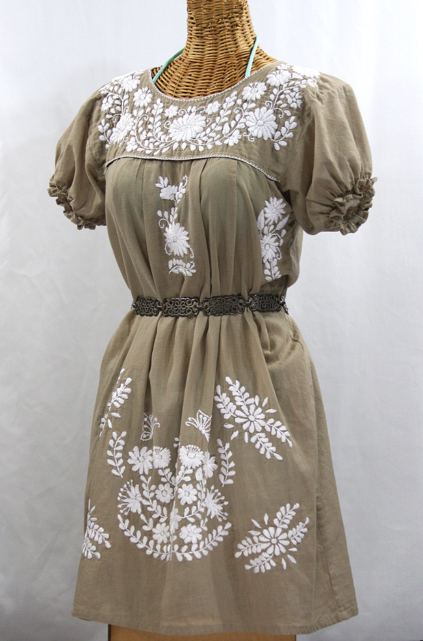 """La Mariposa Corta"" Embroidered Mexican Dress - Khaki"