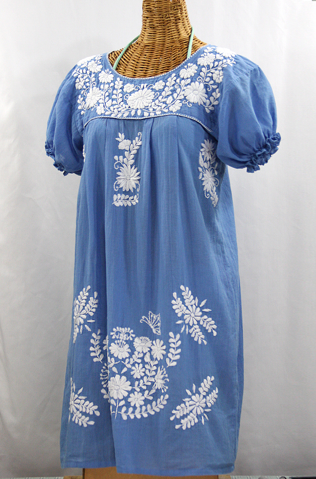 """La Mariposa Corta"" Embroidered Mexican Dress - Light Blue"